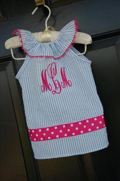 Monogrammed Ruffle Neck Seersucker Dress  Hot by HeirsKidsClothing, $26.99  TML  or   TMS