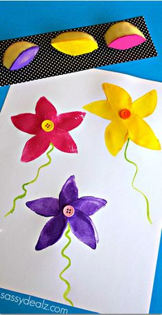 Use Potatoes to Make a Flower Stamp #Mothers day craft #Kids Spring art project