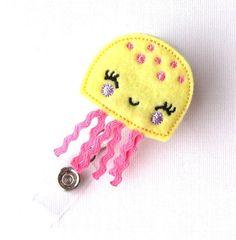 Yellow JellyFish - Felt Badge Holder - Cute Badge Reels - Retractable ID Badge Clips - Peds Badge Pulls - RN Badge - BadgeBlooms via Etsy