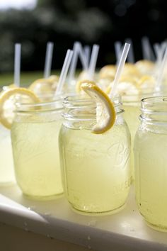 Mason jars with lemonade