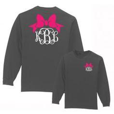 Get your Preppy Bow Monogrammed shirt from Under the Carolina Moon  #underthecarolinamoon