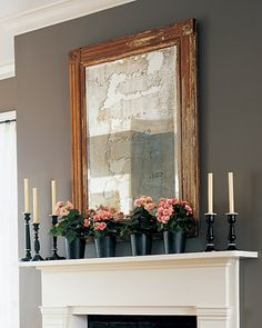 distressed mirror and frame