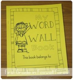vocabulary words, wall spaces, classroom decor, wall book, writing notebook, desk, word walls, first grade, back to school