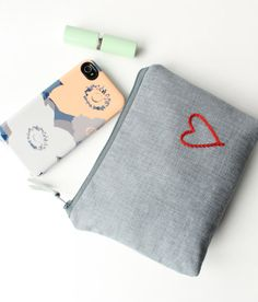 Cosmetic Bag with Stitched Heart Red and Gray