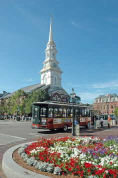 The white steeples in Market Square in Portsmouth, NH, loom overhead in this beautiful town square.