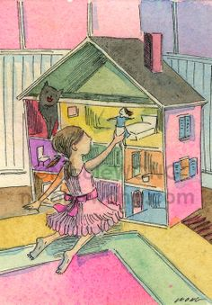 Original ACEO Painting -- Dollhouse