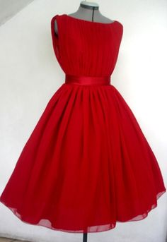 A beautifully elegant Red Chiffon 50s Inspired by elegance50s, $265.00