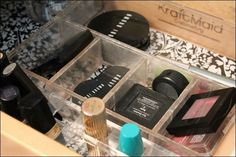 Don't give up on your old makeup trays! Give them a makeover with contact paper!