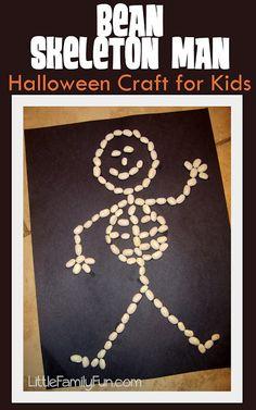 Bean Skeleton. Easy Halloween craft for kids.