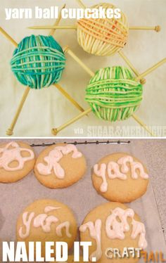 yarn ball cupcakes - nailed it