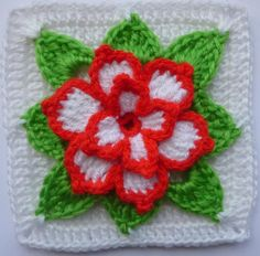 ❋ Crochet Flowers.. Designs, ideas, how to's and just great pictures. Poinsettia in square ~ free pattern