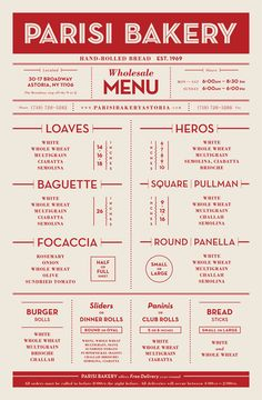 Art of the Menu: Parisi Bakery vintage old graphic