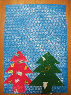 Preschool Crafts for Kids*: Christmas Trees in Snow Scene Craft