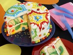 Rainbow/tie-dye birthday cake.