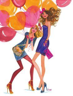 Izak Zenou#izak #izak zenou #trafficnyc #Balloons #friends #watercolor #happybirthday #fashionillustration