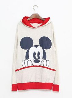 Beige Mickey Cartoon Casual Sweatshirt$43.00
