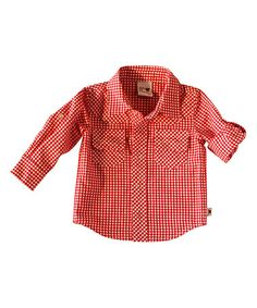 Look what I found on #zulily! Red Fire Truck Gingham Woven Shirt - Infant & Toddler by Sam and Sydney #zulilyfinds