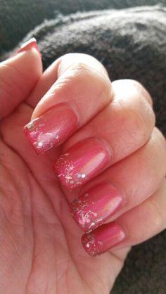 Pink sparkling solar nails for 3d nail salon cypress tx