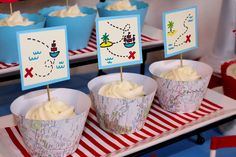 Themed cupcakes at a Pirate party!  See more party ideas at CatchMyParty.com!  #partyideas #pirate