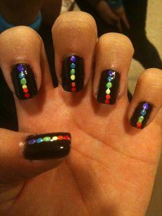 Rainbow polka dot nail art