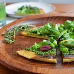 Socca Flatbread with Spring Pesto and Salad