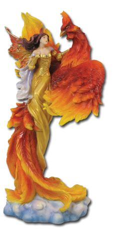 Fairy Fantasy Figurine Riding the Phoenix Sculpture from the Fairyland Legends Collection