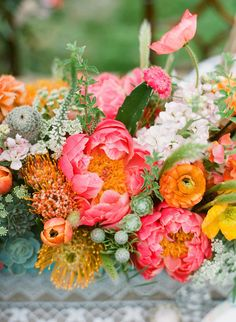 Bryce Covey Photography | Get  #WeddingColor Inspiration on #SMP Weddings here! http://www.stylemepretty.com/2013/07/30/ojai-wedding-inspiration-from-bash-please-primary-petals-bryce-covey-photography/ | Coral + Orange + Yellow + Green
