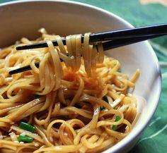Simple Sesame Noodles: Noodles, soy sauce, sugar, garlic, rice vinegar, sesame oil, and water.