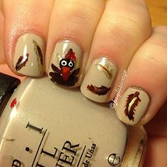 thanksgiving nail art, thanksgiving turkey, thanksgiv nail, nail designs, nail art ideas, nail arts, feather nails, art nails, thanksgiving nails