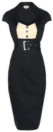 Chic Vintage 1950's Secretary Style Black Pencil Wiggle Dress