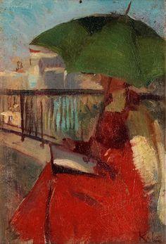 Brita in Paris, 1906.Karin Stackelberg-Lagerberg(1877-1957). Oil on panel (damaged).