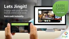 Introducing Jingit - Watch ads. Give feedback. Earn cash instantly. The best brands value your time. Thanks to Jingit, they show how much - with real, instant cash! Watch an ad, take a survey. You'll earn cash, the brand gets your attention. Win-win. Start earning now!