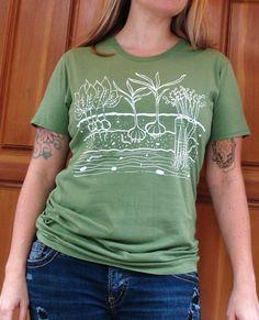 Veggie Garden Womens T Shirt  MEDIUM  Algae Green  by OneLaneRoad, $20.00