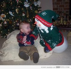 (this one is safe - I pinned from site) Scary Snowman - Funny baby by a Christmas tree got scared by a stuffed snowman toy.