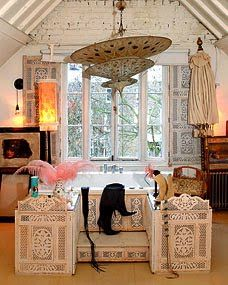 hanging asian umbrella vintage bedroom shaby chic white brick country girly closet