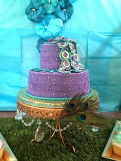 Peacock Baby Shower Party cake!  See more party planning ideas at CatchMyParty.com!