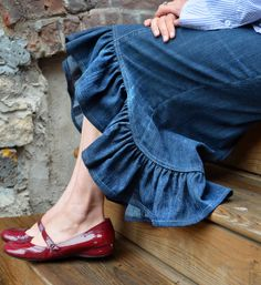 Modest Jean Skirt w/ Ruffle