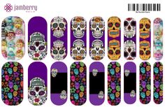 Sugar Skulls nail wraps.  Design your own in the Jamberry Nail Art Studio: http://www.kimd.jamberrynails.net/nas/