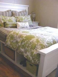 DIY Farmhouse Bed with Storage