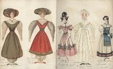 """Queen Victoria Online Scrapbook. The paper doll dressed in white """"Lady Maria"""" was painted by Princess Victoria herself in 1830, the rest were painted by her governess, Baroness Lehzen."""