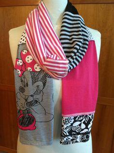 UPCYCLED t-shirt scarf... MINNIE MOUSE... DIsney... pink, black, grey, white. $22.00, via Etsy.
