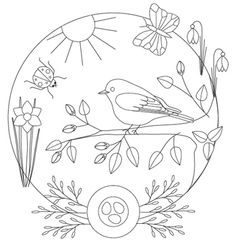 spring bluebird. Very nice and simple bluebird, branch and ladybug for painted window pattern for Spring.