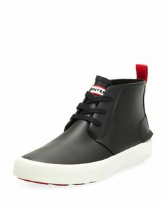 Bakerson Lace-Up Rubber High-Top, Black  by Hunter Boot at Bergdorf Goodman.