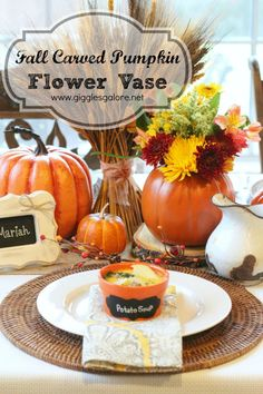 Fall Carved Pumpkin Flower Vase by Giggles Galore