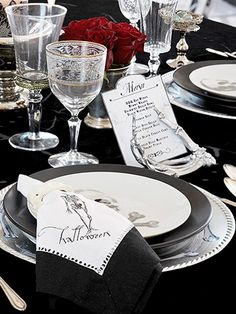 Cloth napkins lend the look of fine linens but are taken from elegant to eerie with Halloween iron-on clip art.