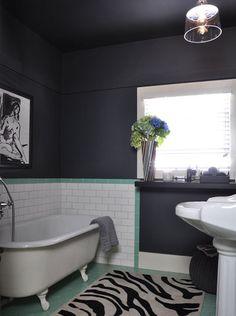 charcoal/aqua bathroom