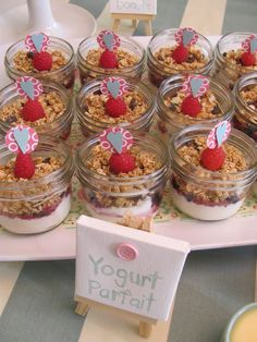 Brunch Baby Shower  Whit loves yogurt parfaits and we could put the white chocolate chip raspberries on top! brunch baby shower, brunch babi, brunch idea, baby brunch, mason jars, babi shower, baby showers, brunch shower