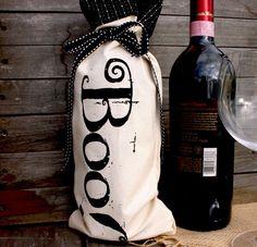 Halloween Boo Wine Bottle Bag by BloomAndBarnacle on Etsy, $10.00