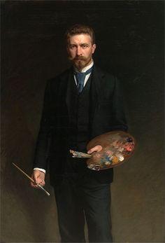 Self-portrait by Kazimierz Pochwalski  oil, 1895