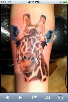Realistic Giraffe Tattoo... I want this!